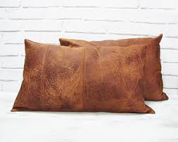 Leather Home Decor by Leather Pillow Etsy