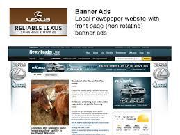 lexus slide website newspaper u0026 tv banner ads search engine marketing eblasts