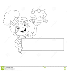 coloring page outline of cartoon boy chef with cake menu stock