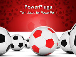 powerpoint template soccer balls with red and black with white