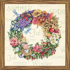 dimensions wreath of all seasons counted cross stitch