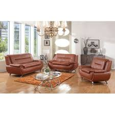 brown leather living room sets leather living room sets you ll love wayfair