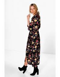 amada floral printed maxi shirt dress black vogacloset