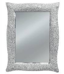 specchi con cornice con cornice ondulata argento effetto mosaico
