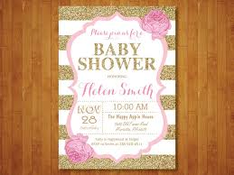 pink gold baby shower pink and gold baby shower invitations cloveranddot