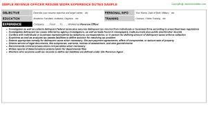 revenue officer resume sample