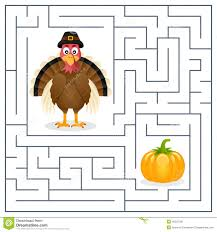 thanksgiving maze for turkey stock vector image 45525196