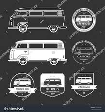volkswagen wagon vintage set vintage car service labels emblems stock vector 314299382