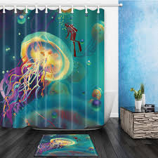 green bamboo waterproof fabric shower curtain liner bathroom mat giant jellyfish home decor waterproof fabric shower curtain liner bathroom mat