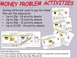 money cut and paste sorting coins activities to pay for items up