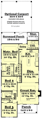 Narrow Home Floor Plans by Small Cottage Style House Plan 3 Beds 2 Baths 1300 Sq Ft Plan