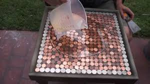 diy how to make a penny top table youtube