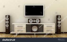 in wall home theater system empty led tv on television shelf stock illustration 334989719