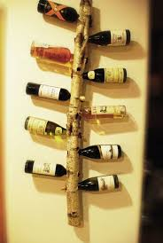 here is a wine rack i made out of a birch tree branch dafare