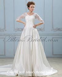 allens bridal satin v neck court train a line wedding dress with