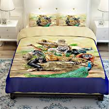 Zebra Comforter Set King Aliexpress Com Buy Tiger Lion Monkey Giraffe Zebra Peacock
