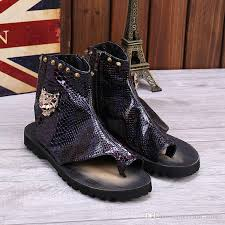 summer motorcycle boots 2017 fashion summer metal men sandals gladiator slipper shoes men