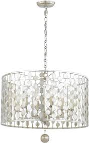 Antique Silver Pendant Lights Crystorama 546 Sa Layla Contemporary Antique Silver Drum Hanging