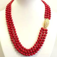 red coral bead necklace images Elegant 3 row necklace of red coral jpg