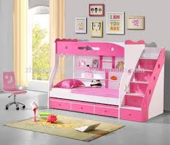 Rose Red Pink Double Bunk Bed With Ladder Staircase Buy Double - Pink bunk bed