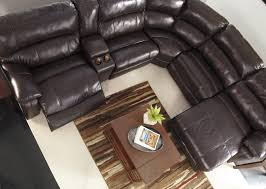 Ashley Chaise Sectional Reclining Sectional W Console U0026 Right Press Back Chaise By
