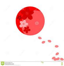 Japan Flag Image Japanische Flagge Mit Sakura Flower Und Dem Blumenblatt Vektor