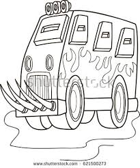coloring cartoon fire truck emergency stock vector 685695826