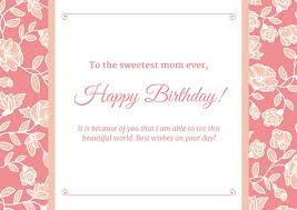 pink white floral mom birthday card templates by canva
