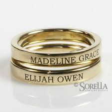 mothers rings stackable engraved engraved 3mm stackable ring in 14k gold kids names or birthdates or