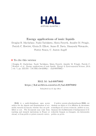 energy applications of ionic liquids pdf download available