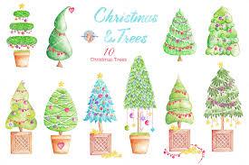 christmas u0026 trees watercolor clipart by auraandthecat