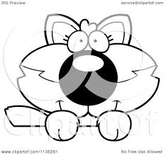 cartoon clipart of an outlined cute baby wolf looking over a