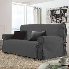 housse de canaper housse de canapé 2 places stella gris anthracite housse de canapé