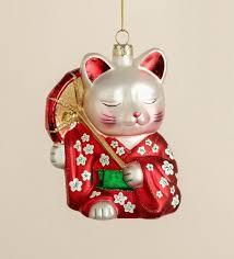 japanese glass tree ornament maneki neko lucky cat
