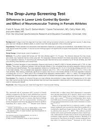 the drop jump screening test difference in lower limb control by
