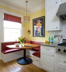 bay window breakfast nook with corner grey upholstered bench also