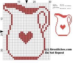 jug kitchen cross stitch pattern monochrome free cross stitch