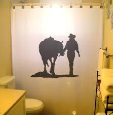 cowgirl shower curtain horse western theme bathroon decor kids