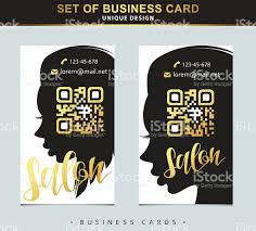 design template business card for beauty salon with qr code stock
