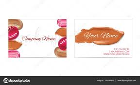 makeup artist business card vector template with cosmetic smears