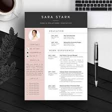 Word Resumes Templates Pink Creative Resume Template Cv Template Cover Letter