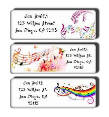 colorful musical notes return address labels custom name stickers