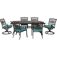 Dining Chair Protective Covers Hanover Traditions 7 Piece Aluminum Round Outdoor Dining Set With