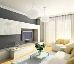 modern design interior of living room 3d render stock photo