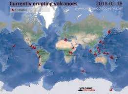 Map Com Daily Static Map Of Currently Erupting Active Volcanoes World