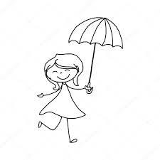hand drawing cartoon of a with umbrella u2014 stock vector