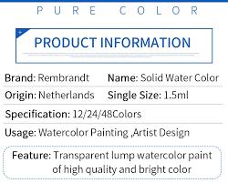 rembrandt 12 24 48 watercolor paint set metal deluxe half pans