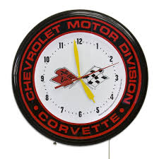 c3 corvette flags chevrolet corvette c3 flags logo neon clock chevy garage clocks
