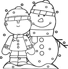 boy snowman snow coloring wecoloringpage