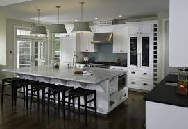 stylish kitchen island with marble top and farmhouse kitchen sinks